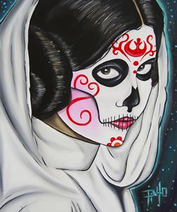 Day of the Dead Leia - Art of Pinto