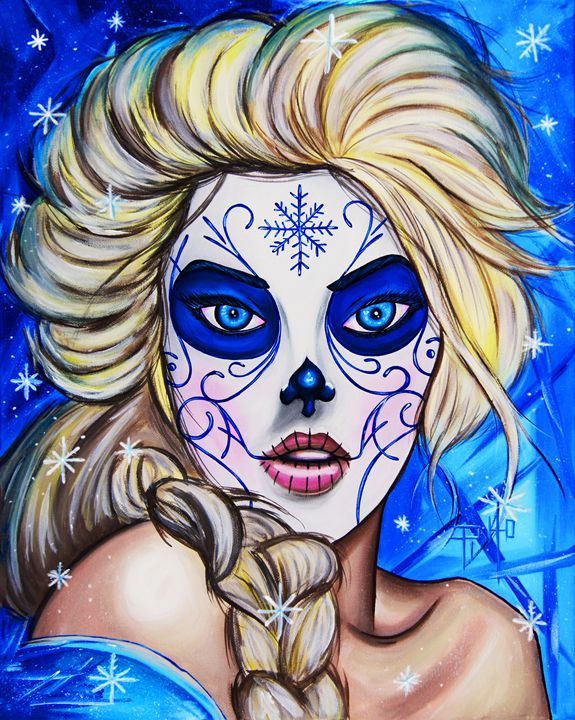Day of the Dead Elsa - Art of Pinto