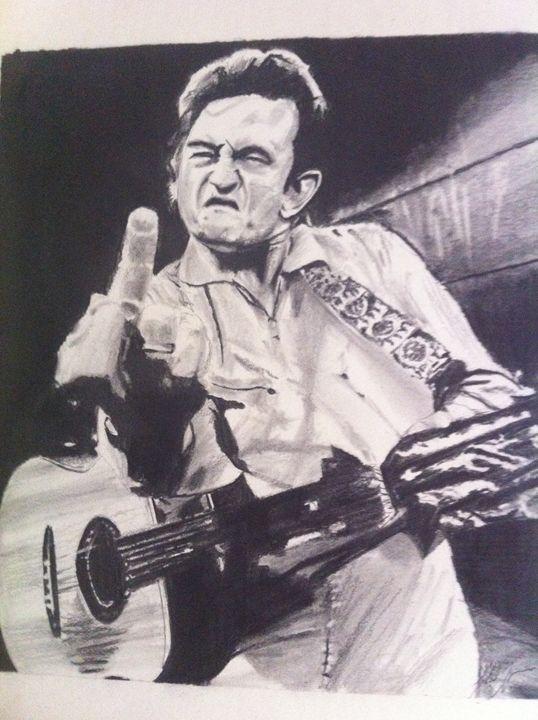 Johnny Cash giving bird in prison. - G.T.