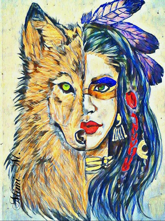 Native Wolf Sister - Parker's Prints