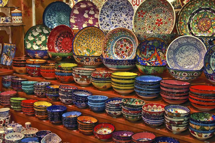 Colorful Ceramic Dishes - Sally Weigand Images