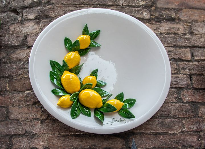 Ceramic Plate of Lemons - Sally Weigand Images