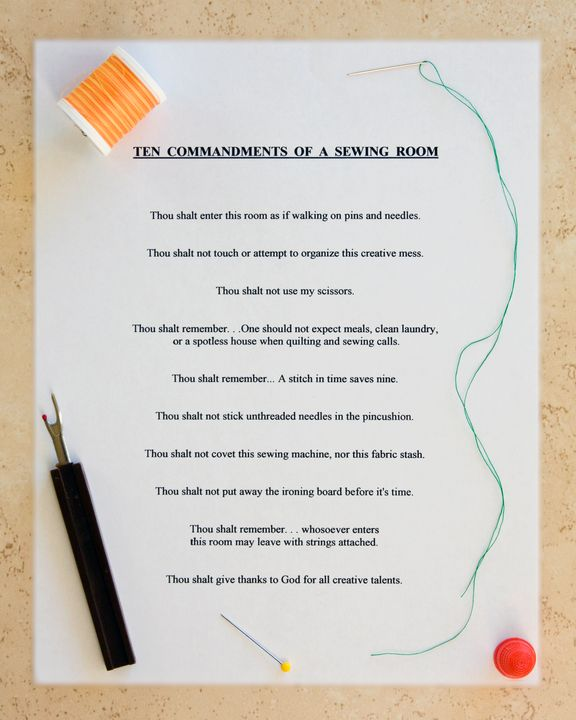 Sewing Room Commandments - Sally Weigand Images
