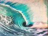 Original art, wave in Tangerine