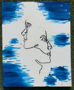modern line art withe blue effects