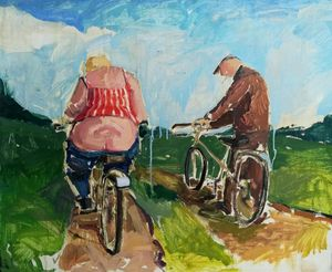 Bicycle ride, oil painting