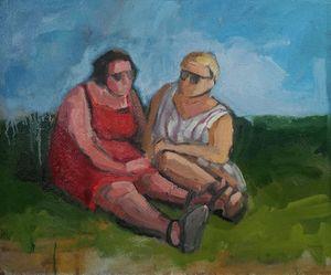 Conversation, oil painting