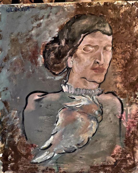 Woman with the parrot - Kseniia Karma