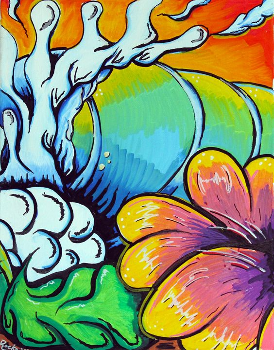 Flower Wave pt 2 - Rocky Rhoades' Surf Art