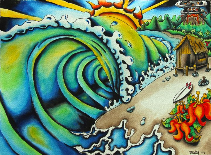 Getting Shacked - Rocky Rhoades' Surf Art