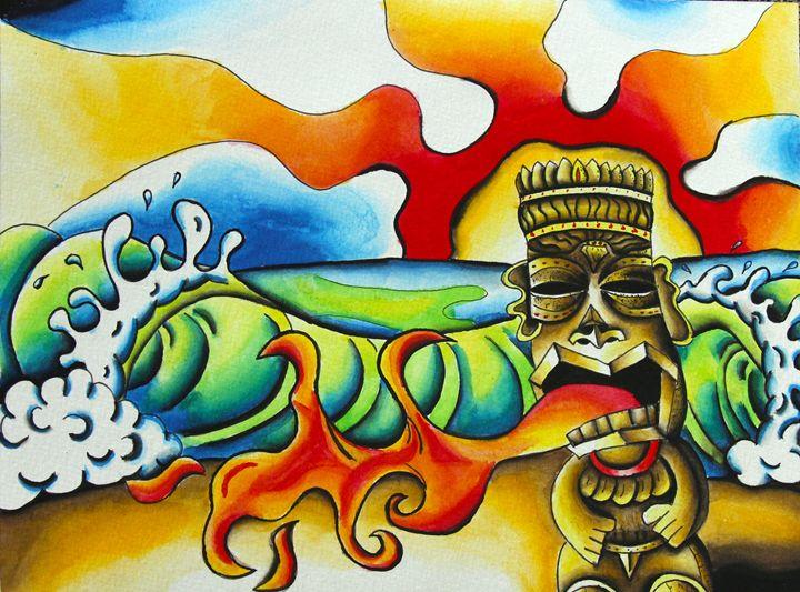 Tiki Spitting Fire - Rocky Rhoades' Surf Art