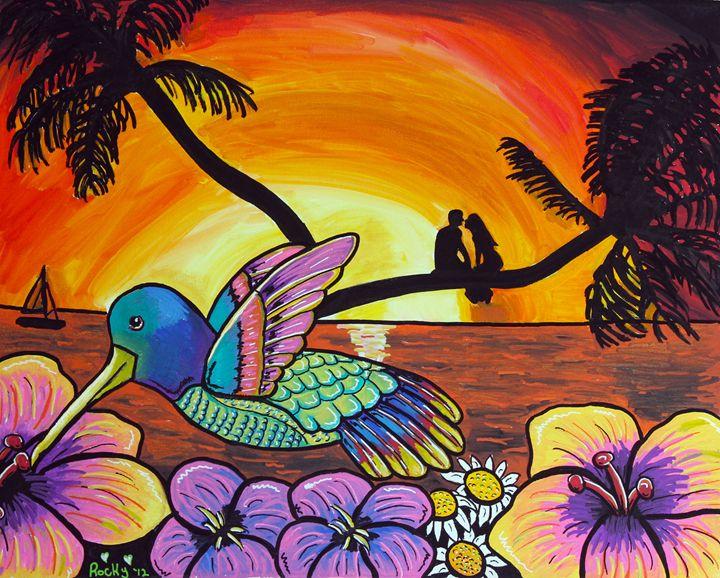 Hummingbird Sunset - Rocky Rhoades' Surf Art
