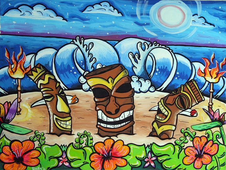 Tiki Party - Rocky Rhoades' Surf Art