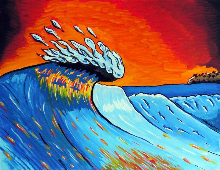 Sunset Curl - Rocky Rhoades' Surf Art