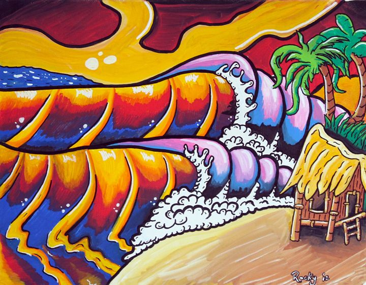 Sunset Wave - Rocky Rhoades' Surf Art