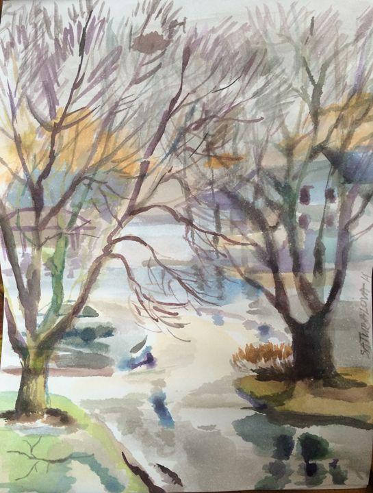 """""""Rainy Day"""" 2014, Watercolor 11,5x9"""" - Madina Satubalova"""