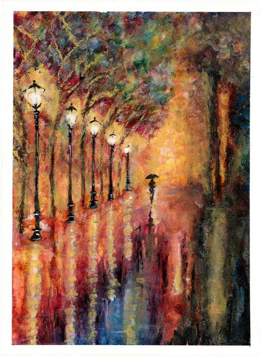 Lamplight Lane #3 - Watercolor Art Elite