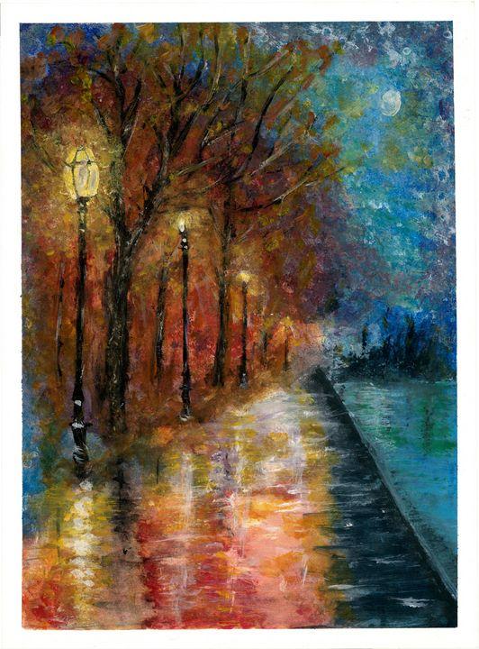 Lamplight Lane #2 - Watercolor Art Elite