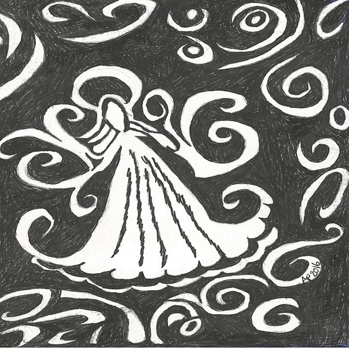 SWIRLY ANGEL IN BLACK & WHITE - Art for God