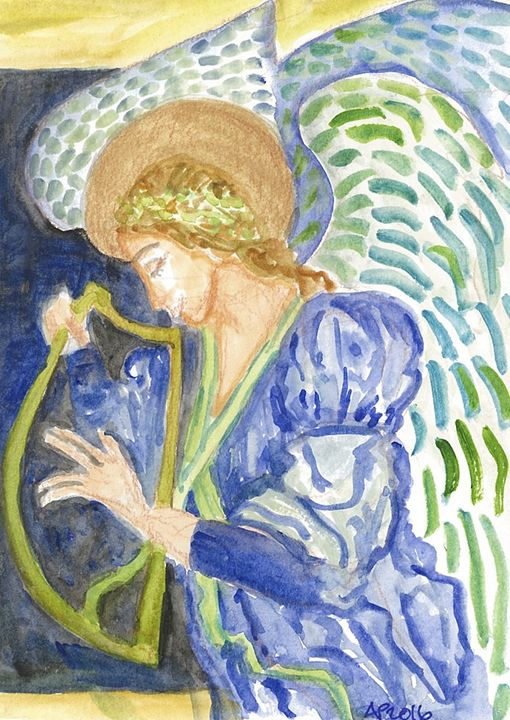 ANGEL WITH HARP - Art for God