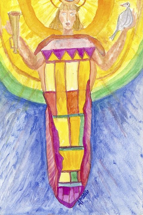 RAINBOW ANGEL WITH DOVE - Art for God