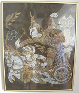 "Thai Silk Oriental Painting, 30""x24"""