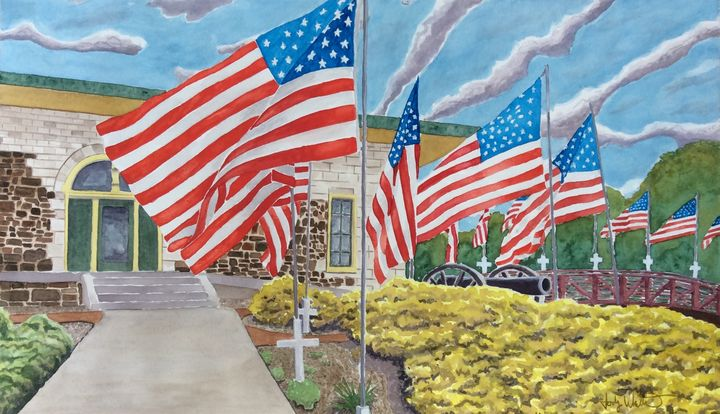 Ringgold Depot Memorial Day Flags - Jody Whittemore