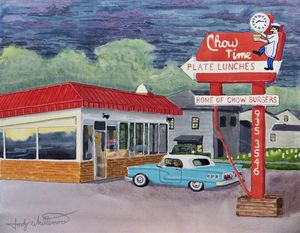 Chow Time Ringgold GA Watercolor