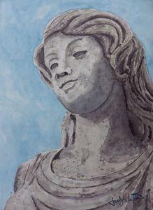 Amused female statue