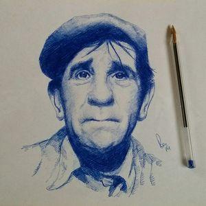 Norman Wisdom Ballpoint Portrait
