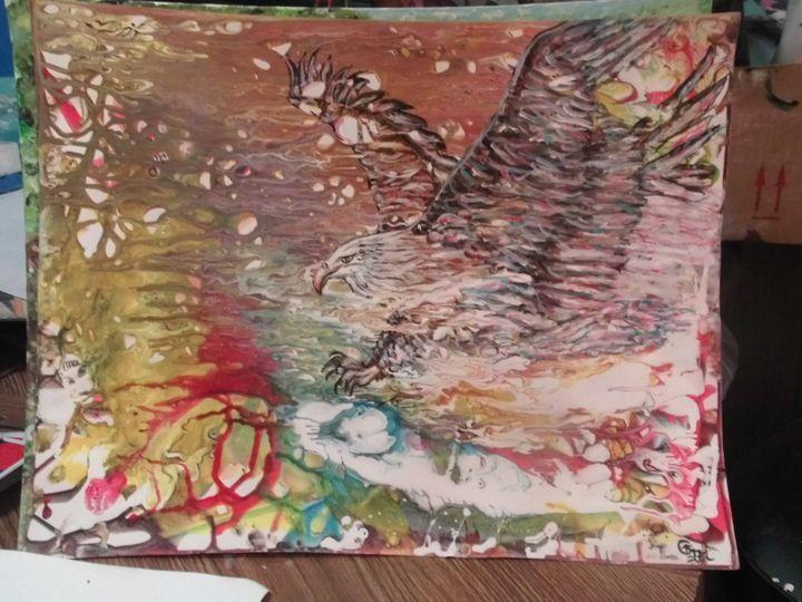 Abstract; Bald Eagle coming out cosm - Carl Morgan