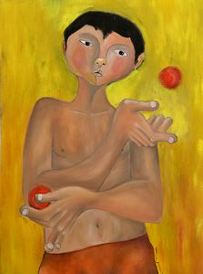 boy juggling red balls