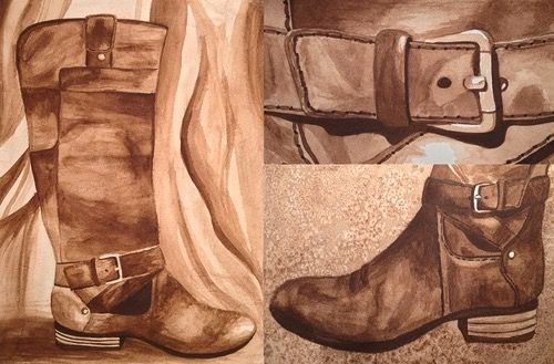Leather Boot Watercolor - Art Attack