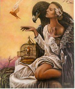 Femme à l'aigle
