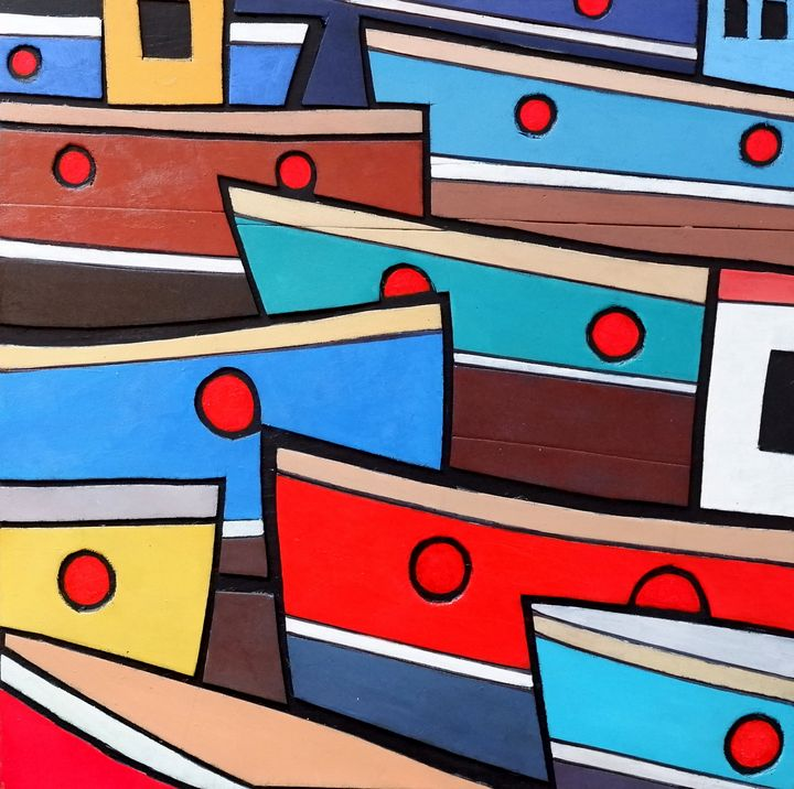 Fishing boats in St Ives harbour - Tradstract Gallery