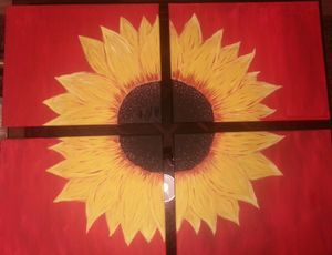 Original Abstract Sunflower-4 pc