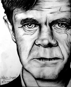 pencil sketch of William H Macy