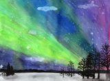 Watercolor Aurora Borealis painting