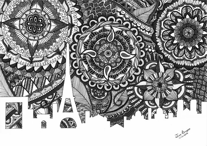 Zentangle Art Paris [B&W] - Ilse Fragoso
