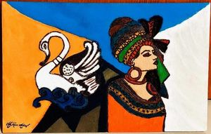 The Lady And The Swan - LePivert.WoodArt.CanvasPaintings