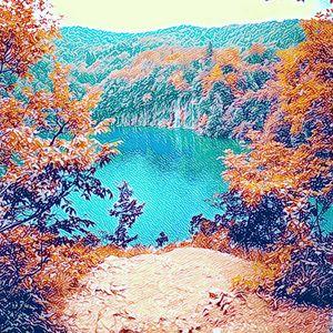 Magical lake nature