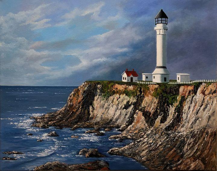 Lighthouse in Port Aurora California - Scott's Art Gallery