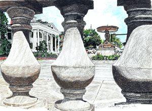Bellamy House & Kenan Fountain