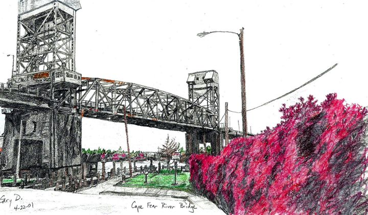 Cape Fear Memorial Bridge - drawings by GaryD