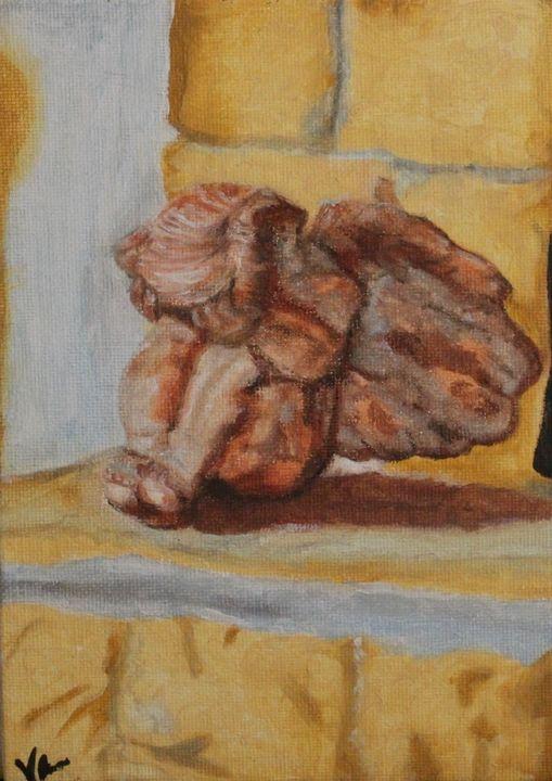 """Shameful Cherub"" - Vicky Ann Painting With Oils"