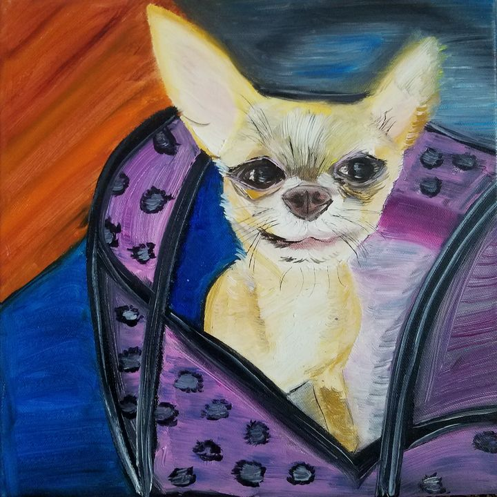 """Pup in a Purse"" $85 - Vicky Ann Painting With Oils"