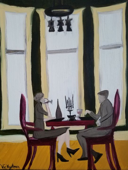 """""""Mudane Dinner"""" - Vicky Ann Painting With Oils"""