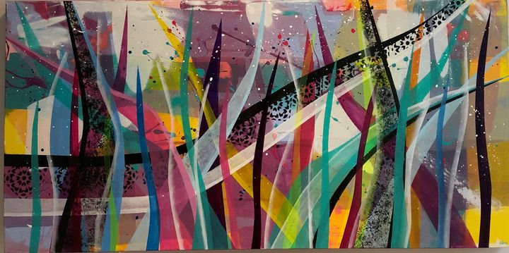 """Spikes of Happiness, 24x48"""", Acrylic - Art Studio by Rimma"""