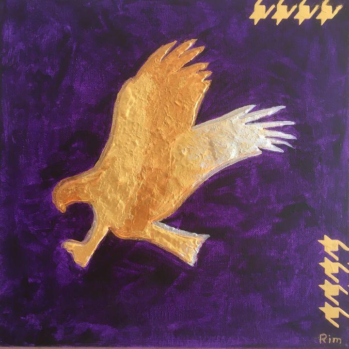 "Gold Eagle,12x12"", Acrylic - Art Studio by Rimma"