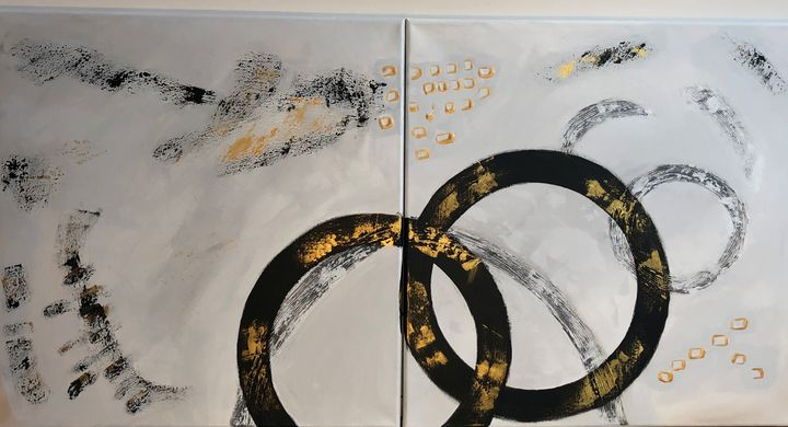 """Rings & Things, Diptych, 24x48"""" - Art Studio by Rimma"""